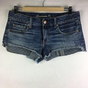 American Eagle Denim Jean Shorts Exposed Pockets